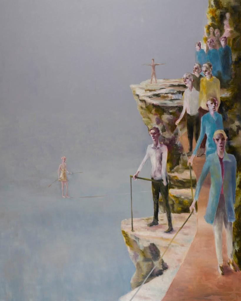 Laufsteg, 200 x 160 cm, Öl auf Leinwand, 2014