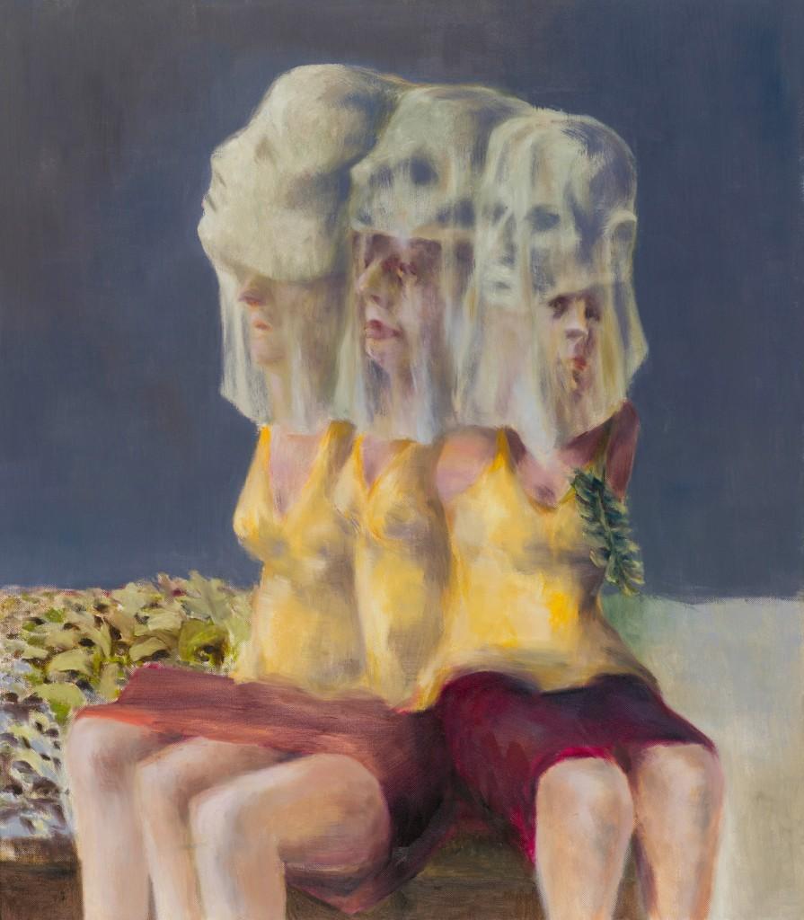 Drei Frauen im Beet, 80 x 70 cm, Öl auf Leinwand, 2014